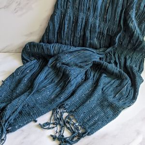 WORLD MARKET Teal and Silver Scarf with Tassels